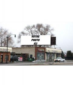 """Votre photographie capturée dans un panneau d""""affichage dans un vrai paysage d""""hiver"""