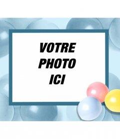 """Carte d""""anniversaire avec des ballons, où vous pouvez mettre votre photo et l""""envoyer par courriel ou imprimer"""
