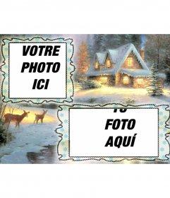 Carte de Noël de charge où vous pouvez mettre deux images, fond village enneigé et un cerf