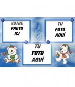 Carte postale de Noël amusante dans laquelle vous pouvez mettre 3 photos