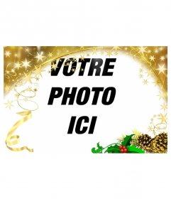 """Cadre photo fête avec des étoiles d""""or Ornement de Noël. Pour personnaliser vos photos cette fête"""