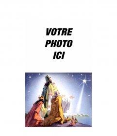 """Carte de Noël de trois sages venus d""""Orient avec leurs offres à venir à Bethléem, en suivant l""""étoile qui a marqué les enfants Jesús.Podemos mettre une photo de notre choix. Félicite les vacances avec elle"""