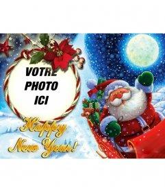Photomontage de mettre votre photo dans un cadre photo arrondi avec une boucle, dans lequel le Père Noël nous félicite de la nouvelle année