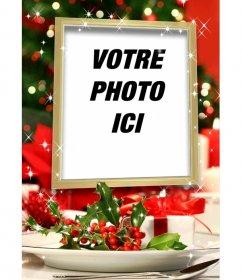 Carte de Noël insérer une photo dans un cadre doré avec des effets scintillants et de la décoration de Noël