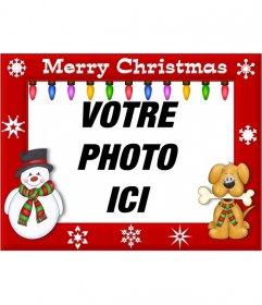 Bord pour décorer des photos avec lexpression Joyeux Noël et lumières colorées