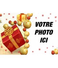 Carte de Noël en ligne avec des cadeaux pour ajouter votre photo