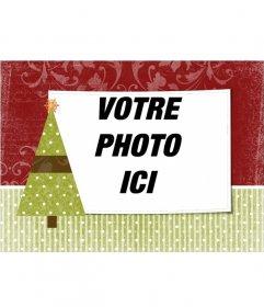 """Carte de Noël à personnaliser avec une photo de votre choix avec décoration d""""arbre de Noël avec une étoile"""
