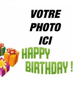 """Photomontage de faire une carte d""""anniversaire avec votre photo avec le texte BIRTHDAY"""