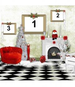 """Cadre pour trois photos, où vous pouvez mettre les photos dans les images d""""une maison à Noël"""