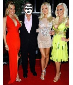 Photomontages éditable du propriétaire du célèbre magazine Playboy avec des filles Photographie que vous pouvez modifier à être le célèbre Hugh Hefner, propriétaire du magazine Playboy, et mettez votre visage sur son visage et être formellement habillé, accompagné par les filles de sa maison en robes et vous ferez rire vos amis avec cet effet parfait pour le partage sur les réseaux