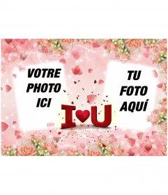 Carte postale Saint-Valentin pour mettre deux photos, avec le texte I LOVE YOU en forme de coeur
