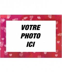 Photomontage modèle gratuit modifiable de la même page, composé de coeurs cadre rose pour une photo en mode paysage