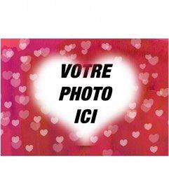 Cadre photo coeur photo pour mettre votre photo en arrière-plan. Fond rose avec beaucoup de cœurs. Idéal pour les amoureux