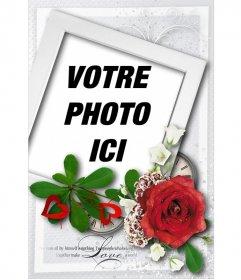Carte avec un style polaroid en forme et une rose, spéciale pour la Saint Valentin