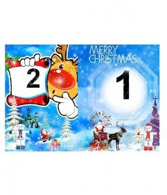 Salutation de Noël carte postale pliage représentant un paysage enneigé avec des sapins et des bonhommes de neige