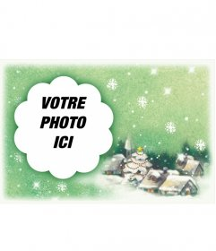Carte postale féliciter de Noël avec neige de Noël sur fond de paysage