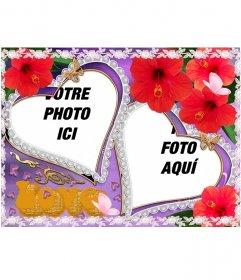 """Set de deux cadres photo, en forme de coeur, de fleurs et papillons apparaissent. Idéal pour représenter l""""amour d""""un partenaire. Violet arrière-plan"""