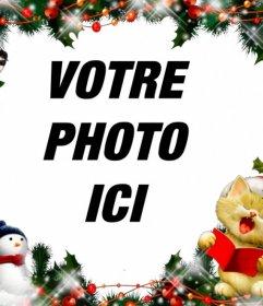 Cadre de Noël pour mettre votre photo avec un chant de chat