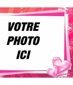 Cadre rose pour modifier avec votre photo une carte damour avec des coeurs