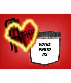 Message Saint-Valentin de fond avec un coeur rouge. Personnalisez-le avec votre photo