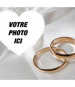 Effet spécial photo avec deux anneaux dor engagement