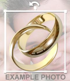 Autocollant dun engagement en or anneaux