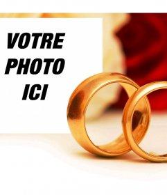 Effet romantique dengagement avec deux anneaux dor pour ajouter une photo