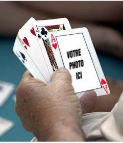 Photomontage de mettre votre photo sur un as de cœur dans un jeu de poker