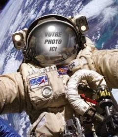 """Photomontage de l""""astronaute sur une sortie dans l""""espace pour mettre votre photo"""