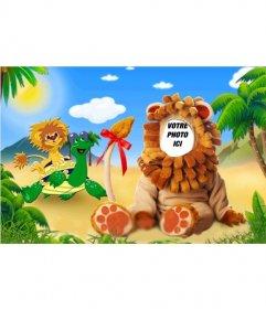 Photomontage dun costume de lion pour les enfants où vous pouvez modifier avec votre photo
