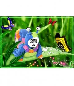 Costume virtuel pour les enfants dun escargot avec des papillons autour Effet