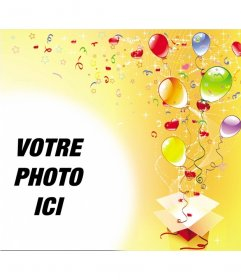 """Cadre photo à l""""occasion de la fête d""""anniversaire, fond jaune avec des banderoles, des ballons et étoiles d""""une boîte cadeau"""