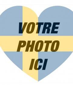 Suède drapeau en forme de coeur comme un filtre pour ajouter à vos photos