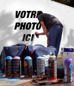 Photo montage pour mettre votre photo sur un graffiti de rue. Vous pouvez utiliser une de vos photos parea créer ce montage
