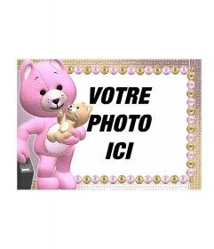 """Photos cadre d""""un ours en peluche orange, le rose ou autre"""