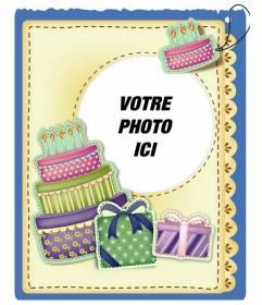 """Carte d""""anniversaire avec gâteau et des cadeaux effet autocollant mettre l""""image et les mots de vous accueillir préfèrent"""
