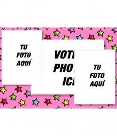 """Carte d""""anniversaire personnalisé avec 3 photos. fond rose avec des étoiles colorées. Envoyer les trois photos et envoyer des courriels"""