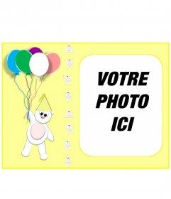 """Carte d""""anniversaire jaune personnalisée avec votre photo avec un ours en peluche et des ballons"""