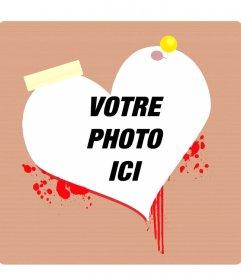 Cadre photo ou un saignement coeur Valentine cartes postales en forme