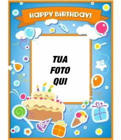 Carte danniversaire pour féliciter lanniversaire et mettre une photo en ligne avec un gâteau, des ballons et des cadeaux avec effet de vignette
