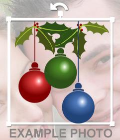 Autocollant de trois boules de Noël pour vos photos