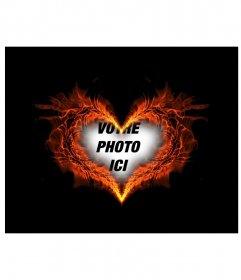 Gravure photo cadre en forme de coeur où vous pouvez mettre votre photo de fond
