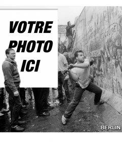 Photomontage de la chute du mur de Berlin en 1989 pour mettre votre photo à côté de limage