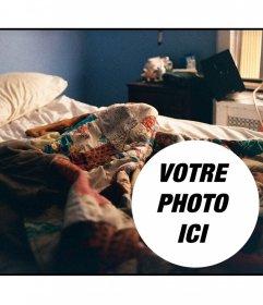 Collage de mettre une photo sur une scène de réveil avec un lit défait