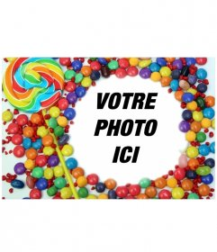 Pour des photos avec bordure décorative de bonbons et sucettes. Cadrez votre image et enregistrer ou envoyer un courriel au résultat