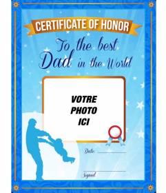 Certificat d'honneur pour le meilleur père au monde. Un certificat bleu personnalisé avec une photo et un texte