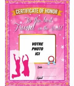 Certificat rose avec des étoiles et des étincelles à donner à votre meilleur ami et de mettre une image sur elle et le texte en ligne