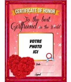 Certificat de la meilleure amie dans le monde avec des roses rouges en forme de coeur à personnaliser avec une photo
