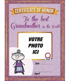 """Diplôme d""""imprimer et personnalisé avec une photo de votre grand-mère en ligne gratuit"""