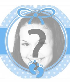 Circulaire cadre bleu parfait pour ajouter une photo dun bébé